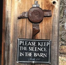 Sign on church barn