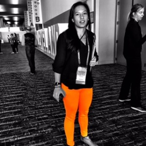 Julianna Washington, #CMWorld Online-Reg rocks in hazmat orange 5-pocket jeans.