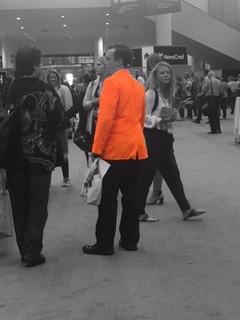 Neon orange sport coat...